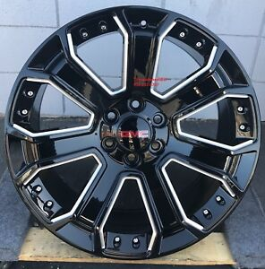 26 Gmc Yukon Denali Wheels Black Milled Pirell Tires Silverado Sierra Tahoe New