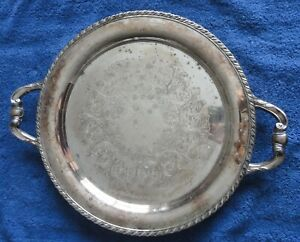 Vintage Wm Rogers 15 Round Silver Plated Serving Butler Tray Platter 7223