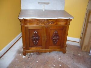 Antique Marble Top Oak Commode Wash Stand