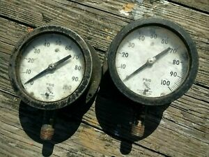 Lot 2 Psig Ashcroft 0 100 Pressure Gauge Steampunk