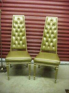 Chromodern Mid Century Hollywood Regency Tower Trapezoid Chairs Pearsall Pair