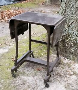Vintage Metal Typewriter Table Typing Desk Cart Stand Usa Industrial Mcm