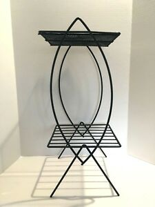 Mid Century Wrought Iron Plant Stand Black Fish Shaped Sides