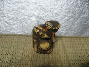 Japanese Netsuke Staghorn Hermit Basket On Shoulder Beard Carved In Edo Era