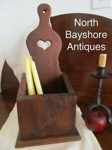 Antique 1700s New England Colonial Primitive White Pine Heart Cut Out Candle Box