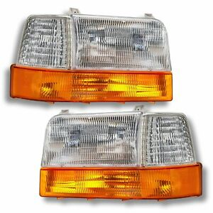 92 96 Ford Pickup Truck Bronco Headlights Headlamps Head Lights Lamps Set Pair
