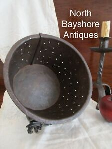 Antique 1700s Colonial Primitive Wrought Iron Cheese Drainer Strainer Mold Aafa