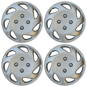 4 Pc Set Of 13 Inch Abs Silver Hub Caps Wheel Cover For Oem Steel Rim Caps