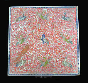 Antique Early 1900 S Handmade Champleve Enamel Box Bird Motif Persia Islamic