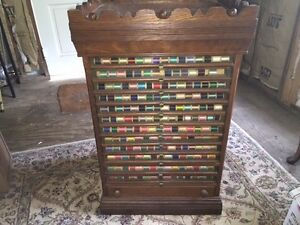 Antique 13 Drawer Belding Paul Co Spool Cabinet Country Store Display W Thread