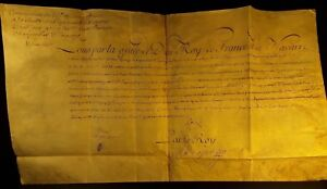 King Louis Xv Autograph On Parchment Reformed Camp Marshal S Commission 1757