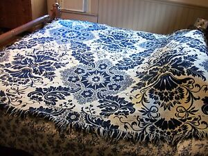 Early Wool Coverlet Navy And Cream Floral Seamed In Middle Heirloom Blanket