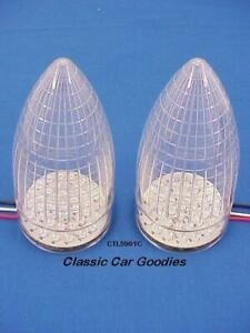 1959 Cadillac Tail Lights 2 40 Red Led Clear Lens New