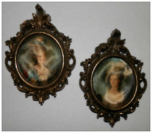 Vintage Miniature Victorian Women Picture Frames Italy Silk Cloth