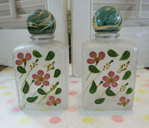 Lot 2 Vintage Hand Painted Flowers Rose Floral Glass Perfume Bottle Pink Green
