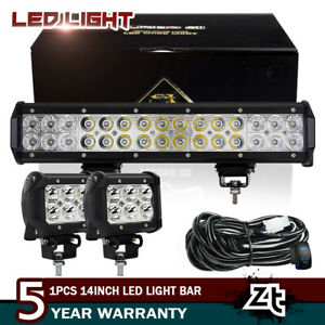 12in Led Light Bar 2x 3 Pods Bumper Driving Work Lights Suv 4wd Atv wiring Kit