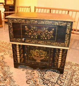 Antique Black Painted And Stenciled Lift Top Cabinet Hitchcock Style