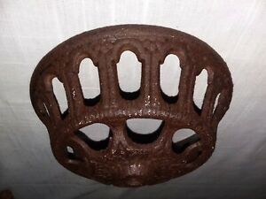 Victorian Cast Iron Oil Lamp Wall Bracket Base Bowl Dish 5 Replacement Part