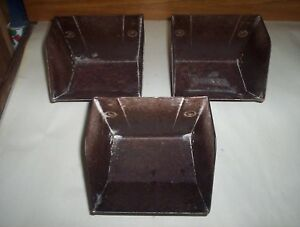 3 Vintage Metal Grain Elevator Buckets Lot By Sweet Mfg Springfield Oh 6 X 5 5