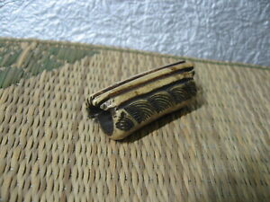 Japanese Netsuke Staghorn Driftwood On Wave Carved In Edo Era