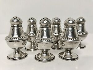6 Set Sterling Silver Individual Salt Pepper Shakers National Silver Co