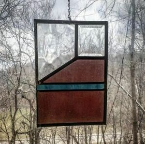 Architectural Salvage Leaded Stained Glass Textured Clear Plum And Blue Glass