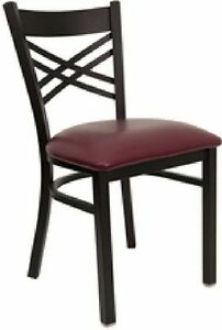 New Metal Designer Restaurant Chair With Burgundy Vinyl Seat