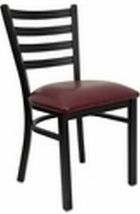 New Metal Designer Restaurant Chairs W Burgundy Vinyl Seat Lot Of 10 Chairs