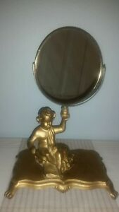 Vintage Hollywood Regency Gold Ornate Brass Victorian Vanity Table Mirror Cherub