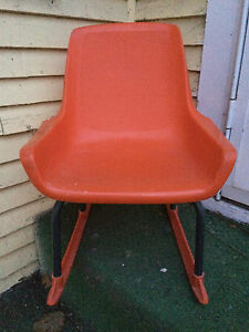 Vintage Orange Mid Century Modern Child S Rocking Chair Shamrock Neatway Eames