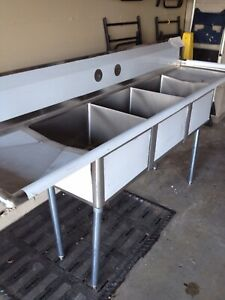 3 Three Compartment Commercial Stainless Steel Sink 90 X 23 8 G
