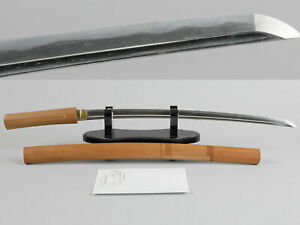 Wakizashi With Bo Hi Antique Japanese Sword Blade Shirasaya Koshirae Katana