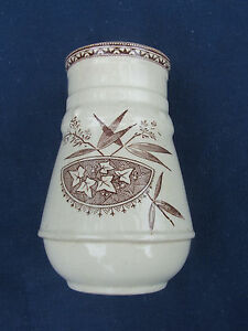 English Pottery China Aesthetic Movement Tooth Brush Holder Brown Transferware