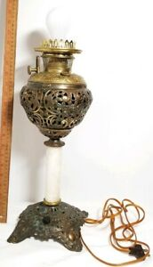 Antique Bradley Hubbard B H Banquet Oil Lamp Converted To Electric Light