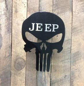 Powder Coated Steel Punisher Trailer Hitch Cover Insert Jeep