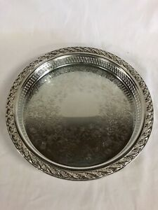 International Silver Company Ornate Round Silverplate Vintage Bar Tray 9 1 2