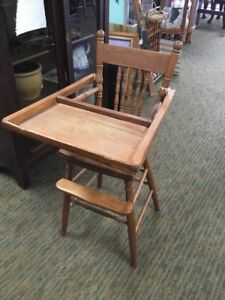 Antique Vintge Aby High Chair Solid Wood Oak Jenny
