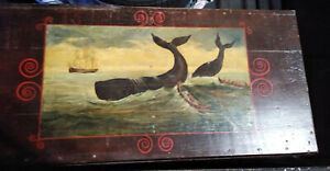 Antique Oil Painting On Wooden Seaman S Chest Whaling Hunt By Weston Bean Boston