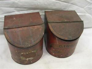 Pr Antique Country Store Tin Litho Spice Bin Can Ginger Apothecary Counter