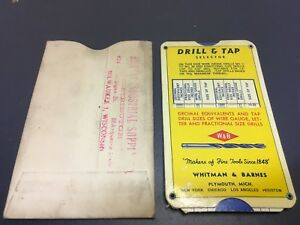 Vintage Whitman Barnes Drill Tap Selector Slide Rule W Sleeve Free Shipping