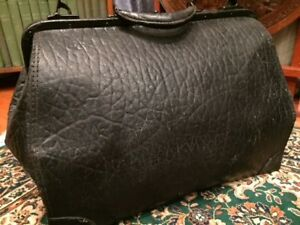 Leather Valise Purse Medical Train Bag Doctor Luggage Case Black Antique Vintage