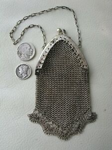 Antique Victorian Silver Greek Key Chatelaine Bru Doll Mesh Coin Purse Germany