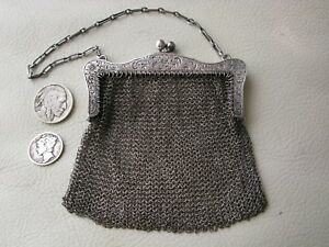Antique Victorian Engraved Sterling Silver Chatelaine Chain Mesh Coin Purse