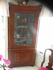 Magnificent Cherry Corner Cupboard 12 Pane Old Glass 2 Pc 82x45x21 Outstandi