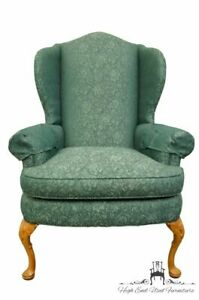 Pennsylvania House Advantage Green Teal Upholstered Wingback Arm Chair