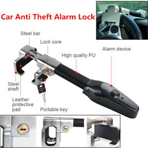 Universal Lock For Auto Steering Wheel Security Car Anti Theft With Alarm System