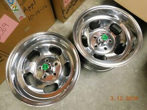Polished 15x8 5 Slot Mag Wheels Ford Dodge Mags Mopar Chevelle Camaro 442 Gto Ss