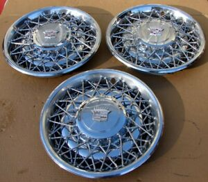 Three 1970 S 1978 1979 Cadillac 15 Wire Hubcaps