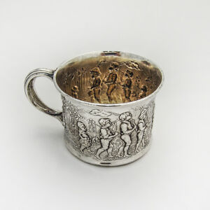 Follow The Leader Baby Cup Gorham 1890 Sterling Silver