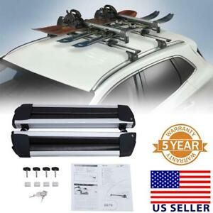 2x Flat Ski Roof Rack Carriers Unversal For Crossbar Carry 4 Snowboard With Lock